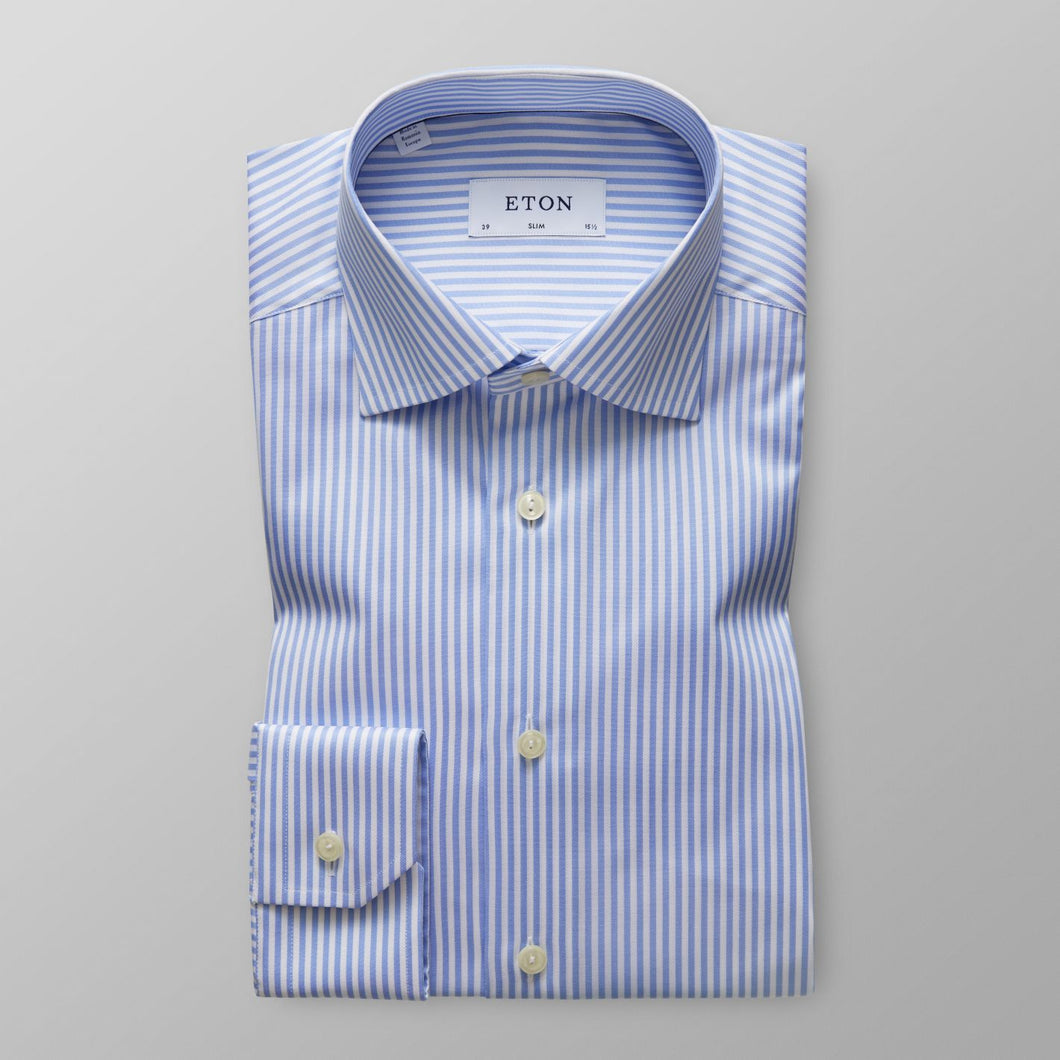 Sky Blue Striped Twill Shirt Slim Fit
