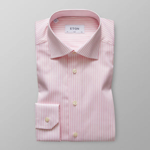 Pink Striped Twill Shirt Slim Fit