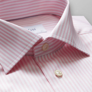 Pink Striped Twill Shirt Contemporary Fit