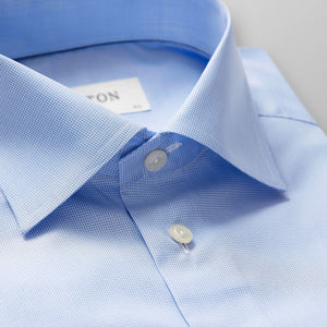 Light Blue Hounds Tooth Shirt Slim Fit