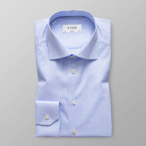 Sky Blue Striped Stretch Shirt Slim Fit