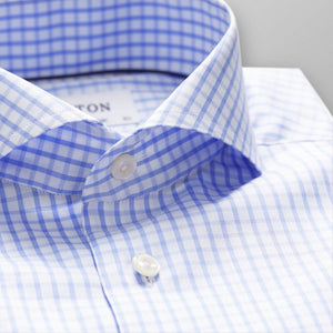 Sky Blue Check Stretch Shirt Slim Fit