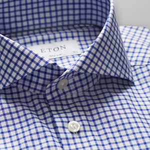Blue-White Check Stretch Shirt Super Slim Fit