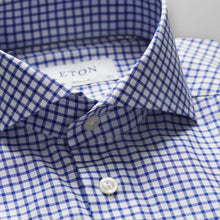 Load image into Gallery viewer, Blue-White Check Stretch Shirt Slim Fit