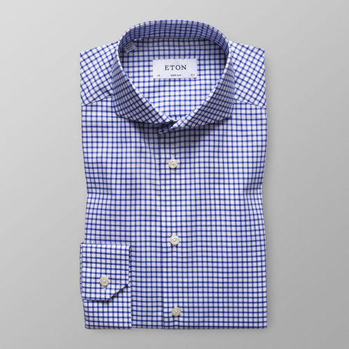 Blue-White Check Stretch Shirt Slim Fit