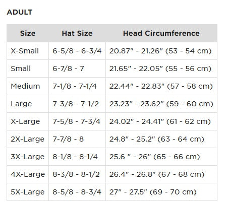 Size for motorcycle helmet