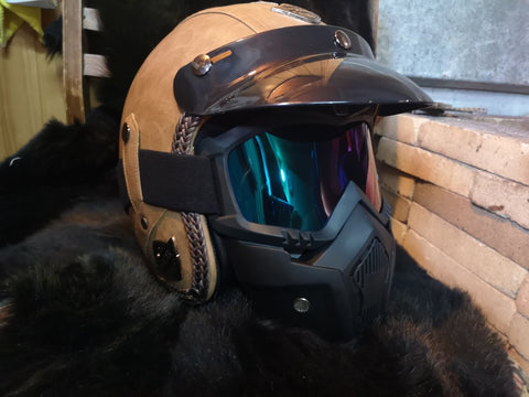 leather motorcycle helmet with googles