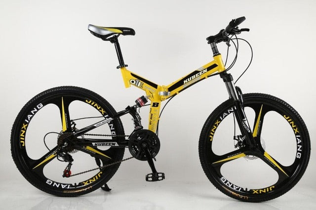 26 inches 21 Speed Folding Bicycle Male / Female / Student Mountain Bike Double Disc Brake Full Shockingproof Frame Brakes