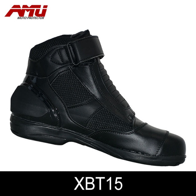AMU Moto Microfiber Leather  Motorcycle Short Boots Professional moto shoes Racing bota motociclista Motorcycle Boots