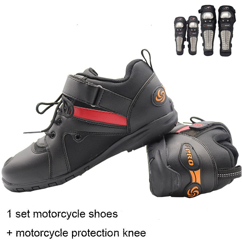 Motorcycle Boots Men motocycle shoes with leather Racing motorcycle protection knee with Stainless steel+motorcycle shoes