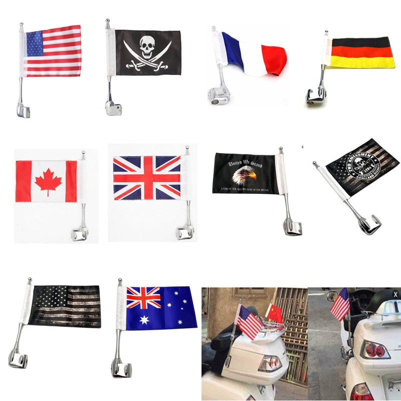Motocycle Flag Pole Side Mount Luggage Rack Antenna Vertical  For Honda Goldwing GL1800 2001-2011 02 03 04 05 06 07 08 09 10