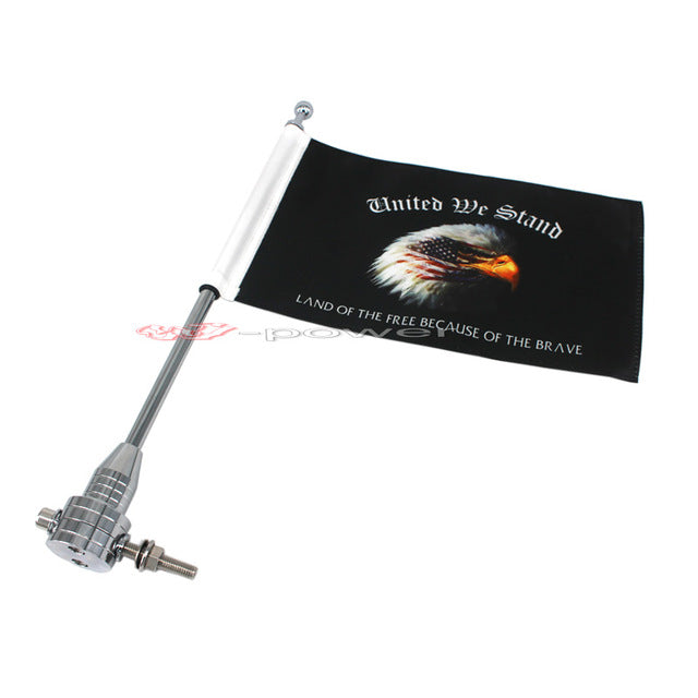 For Harley Touring Road King Glide&flht Chrome Motocycle CNC Aluminum Rear Side Mount Luggage Rack Vertical Flag Pole