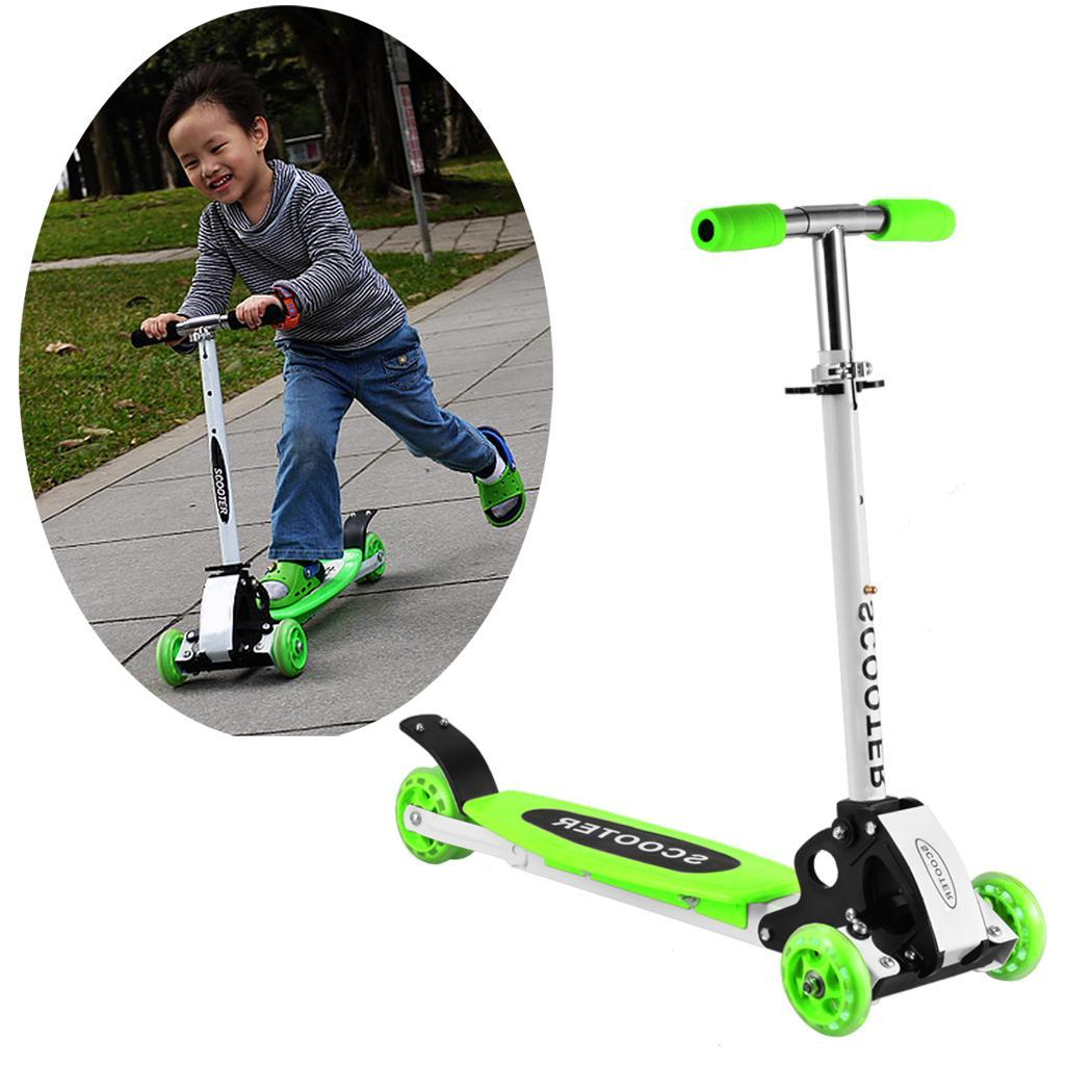 Children's Adjustable Unisex Kick Scooter Bikes Scooter LED Light Up 3 wheel Foot Scooters Children City Roller Skateboard Gifts
