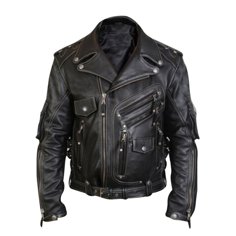 Men's Luxury Leather Jackets Casual Fashion Stand Collar Motorcycle Jacket New Winter Spring Men Casual Silm Biker Leather Coat
