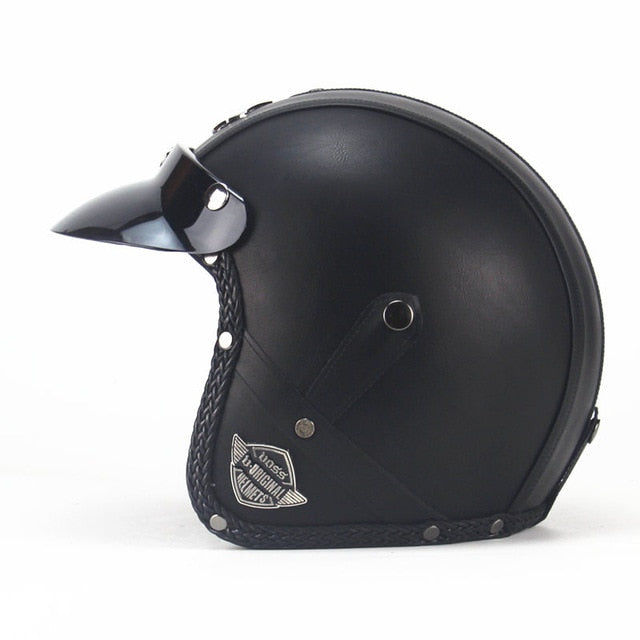 Leather Motorcycle Helmet With Goggles and Mask-EnergyMoto