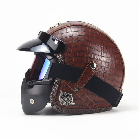 Leather Motorcycle Helmet With Goggles and Mask