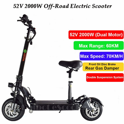 10 inch Dual Drive 2000W Powerful Electric Scooter Hoverboard Electric Off Road Skateboard for Adult