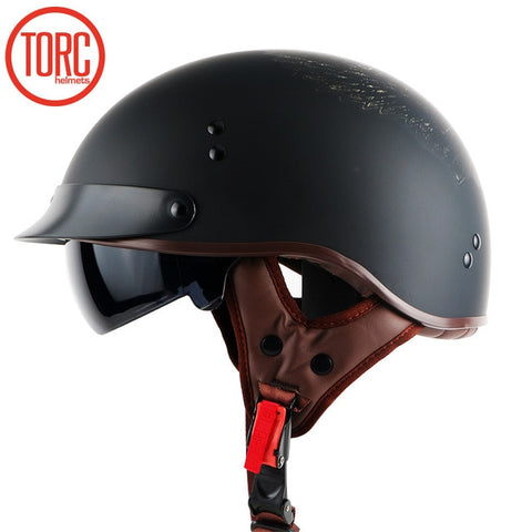 DOT CERTIFIED RETRO MOTORCYCLE HALFHELMET W/ RETRACTABLE VISOR