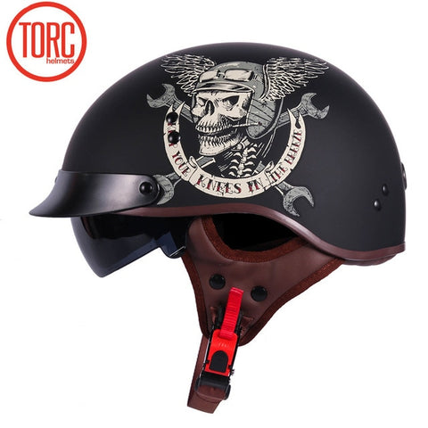 DOT CERTIFIED RETRO MOTORCYCLE HALFHELMET W/ RETRACTABLE VISOR - EnergyMoto