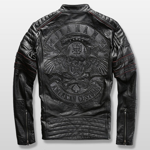Sull Embroidery Leather Motorcycle Jacket