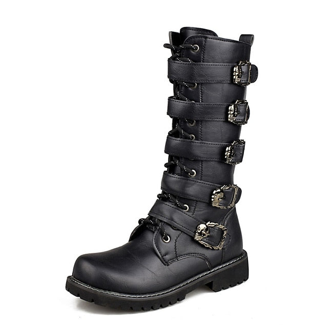 Motorcycle Boots Men Punk Martin PU Leather Boots Moto Steampunk Boots Belt Buckle Military Boots Mid-calf Shoes Protective Gear