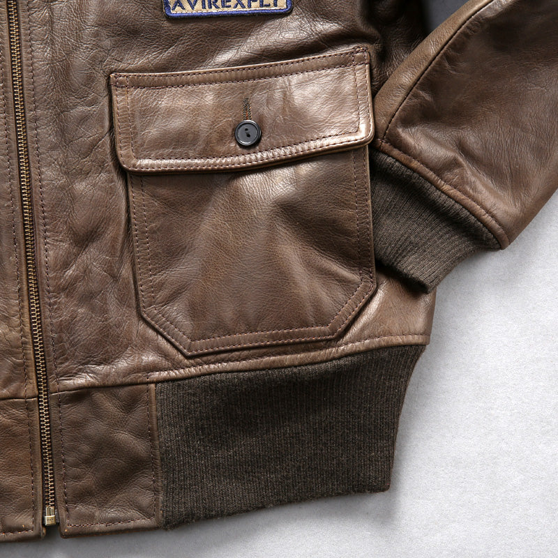 Shearling Wool Leather Pilot Jacket-EnergyMoto