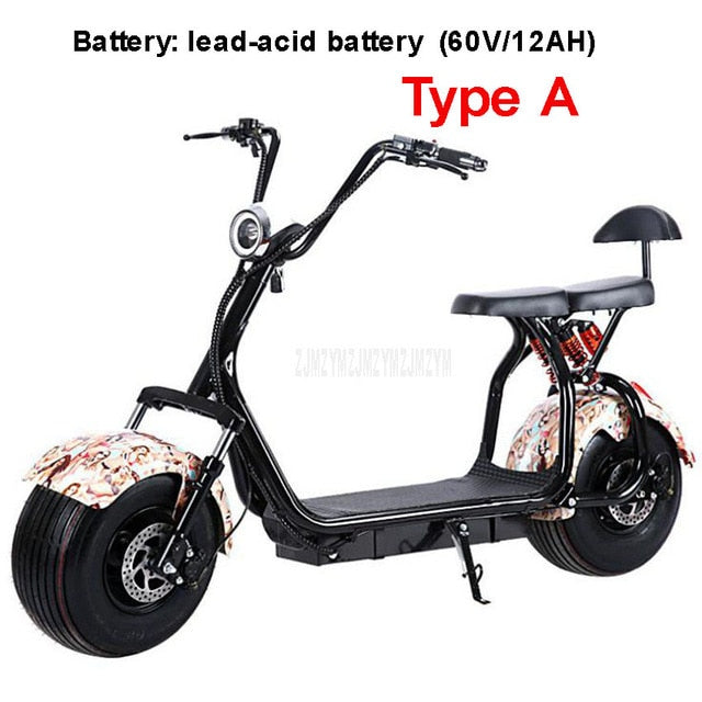 Big 2 Wheel New Harley Electric Vehicle Adult Pedal Electric Bicycle Motorcycle Scooter With Seat Mileage 40km 1000W A/B type