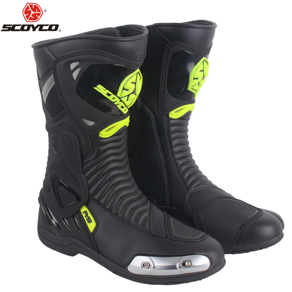 SCOYCO Biker Motorcycle Boots Motorbike Motorboats Moto Shoes Boot Motorcycle Motocross Men Botas Riding Shoe Racing Boots