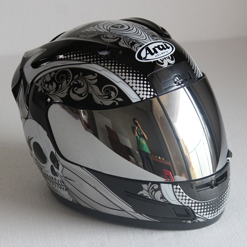 Full Face ARAI Skull Black and White Helmet - EnergyMoto