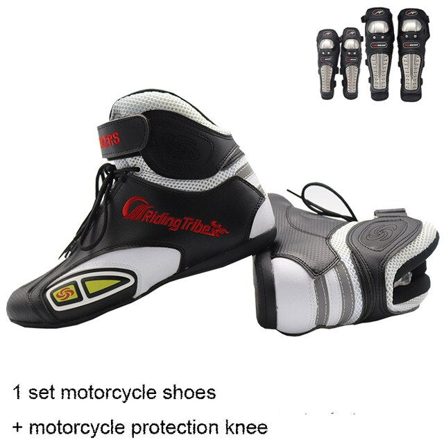 Motorcycle Racing boots Microfiber Leather Moto Shoes motorcycle protection knee with Stainless steel+breathable motorcycle shoe