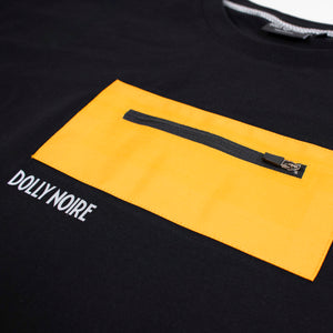 OVER POCKET T-SHIRT・BLACK YELLOW