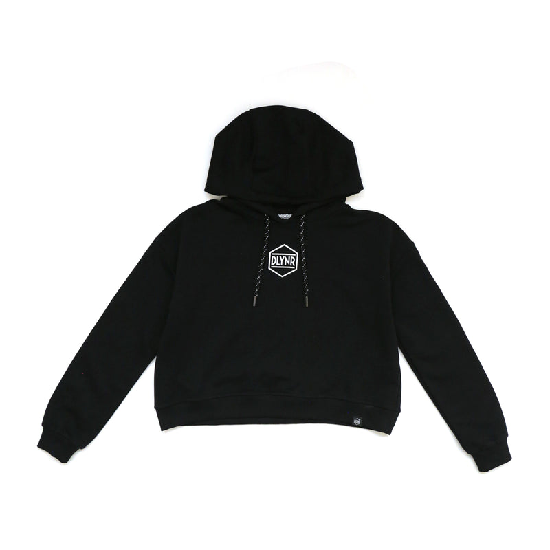 HEXAGON CROP HOODIE / BLACK