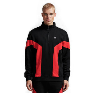 GRAVITY HALF ZIP HOODIE / BLACK RED