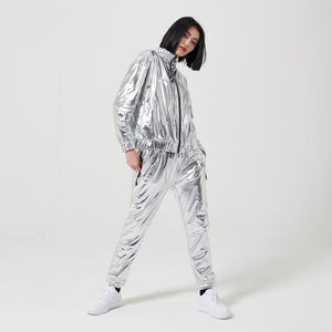 CHROME ZIP HOODIE WOMAN / SILVER