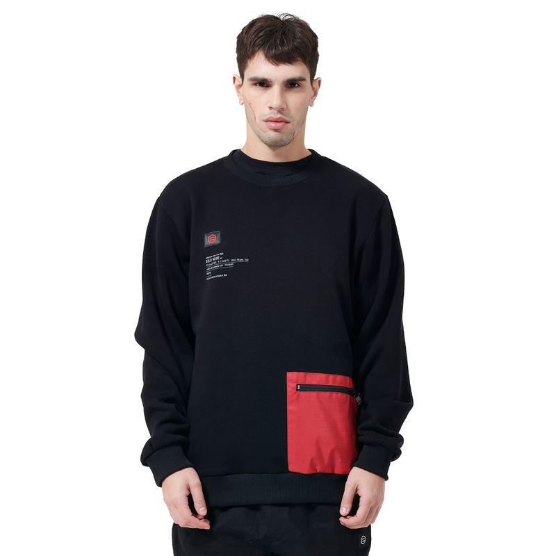 POCKET CREWNECK / BLACK RED