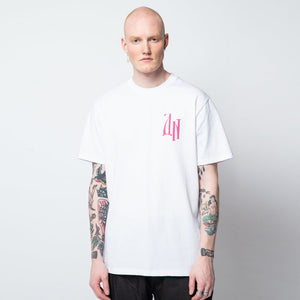 SIBERIAN LETTERS T-SHIRT / WHITE PINK