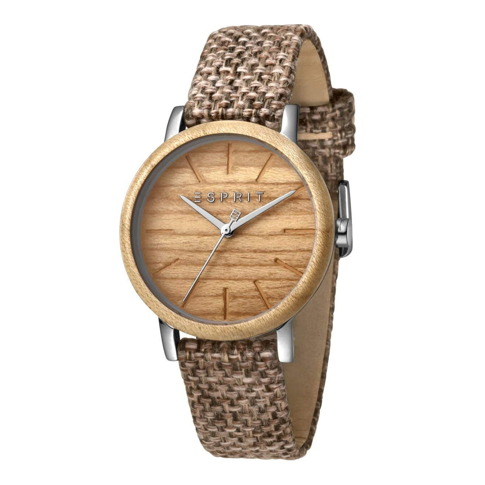 Esprit ES1L030L0025 Plywood Brown Canvas Damenuhr