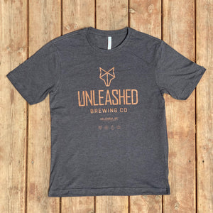 Charcoal Grey t-shirt Unleashed Brewing Co.