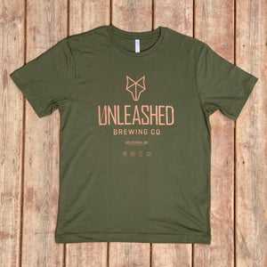 Moss Green t-shirt Unleashed Brewing Co.