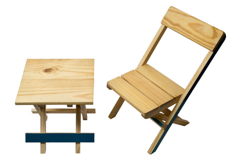 IVEI Pine Wood Kids Folding Table and Chair Set