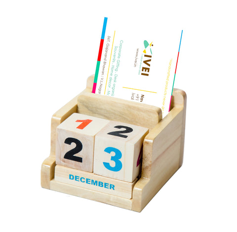 IVEI Minimal Desk Calendar Pen Holder - Perpetual Wooden Calendars