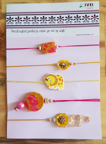 IVEI Handpainted exclusive Rakhi set of 5 - Rakshabandhan - handmade rakhi - Rakhi sets - Brother, bhabhi, sister and kids - Pink