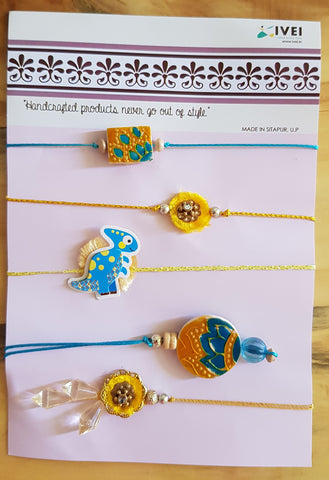 IVEI Handpainted exclusive Rakhi set of 5 - Rakshabandhan - handmade rakhi - Rakhi sets - Brother, bhabhi, sister and kids - Blue