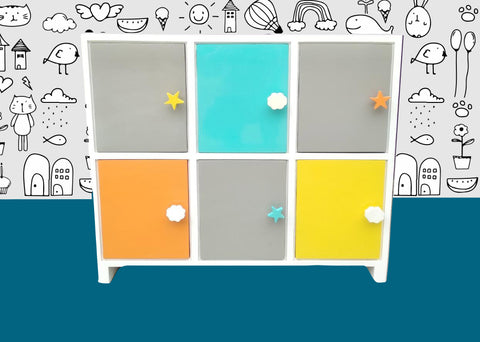 IVEI Wooden Kids Cabinet - Multi color Storage Unit