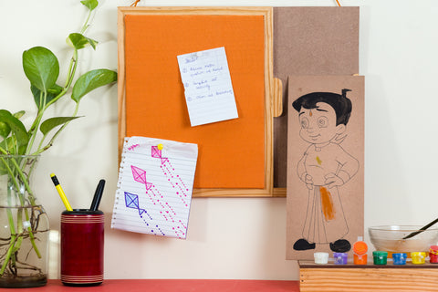 IVEI Chhota Bheem DIY Pin Board - Orange - Paint-your-own board