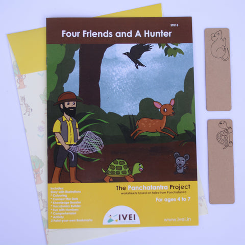 Four friends and a hunter - workbooks and 2 DIY Book marks  - 4 to7 yrs