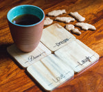 IVEI Screen Printed Motivational Wooden Coasters - Set of 4