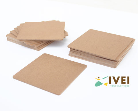 IVEI DIY MDF Square Coasters (3mm) -Set of 20