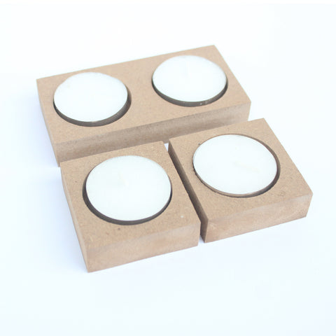 IVEI DIY MDF Tea Light Candles -  Set of 3
