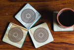 IVEI Mandala Raw Wood Reversible Coasters - Set of 4 (Animal)